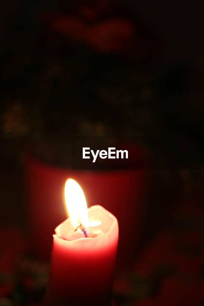 candle, flame, burning, illuminated, close-up, heat - temperature, glowing, night, indoors, focus on foreground, no people