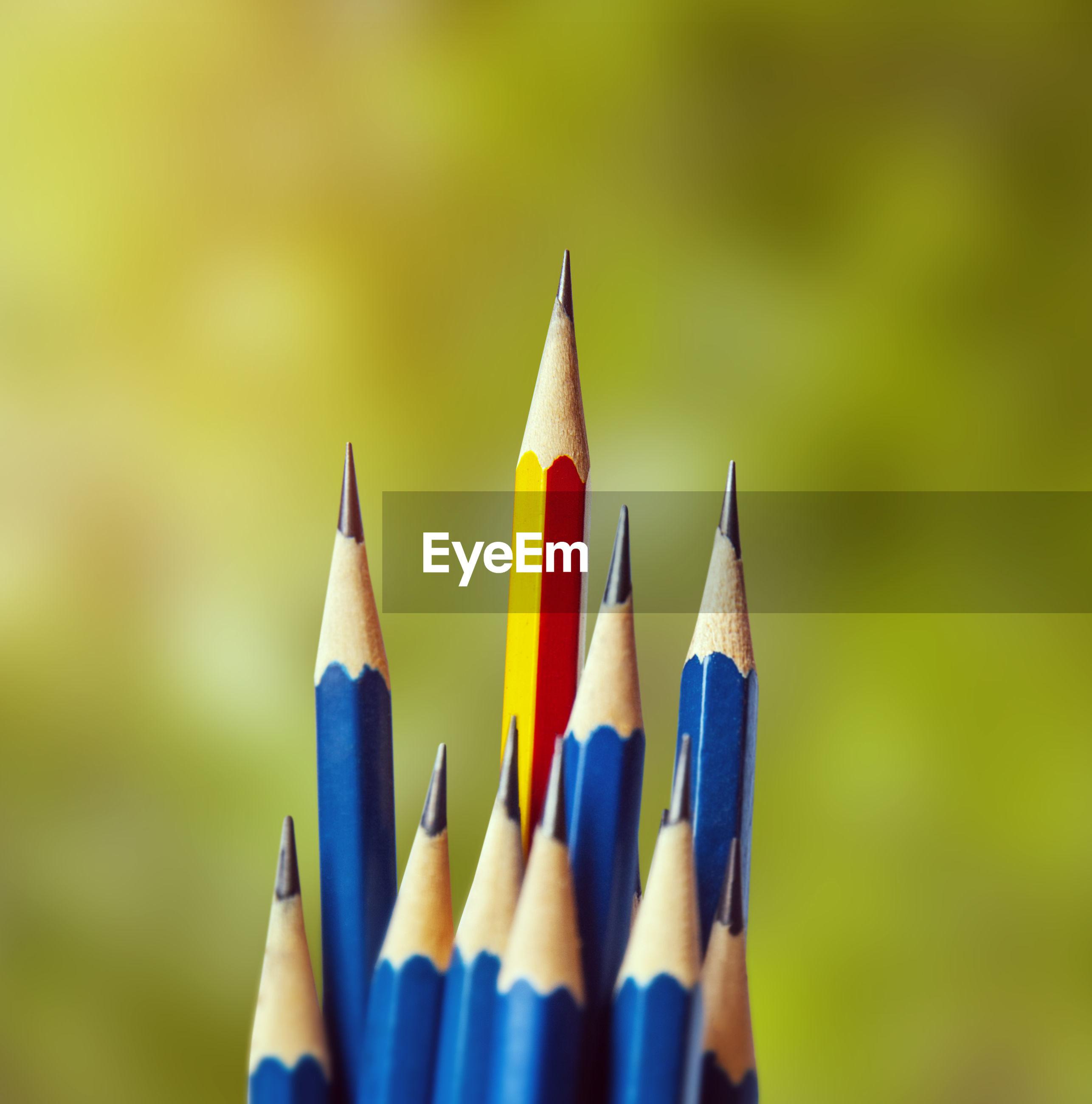 Close-up of pencils against defocused background