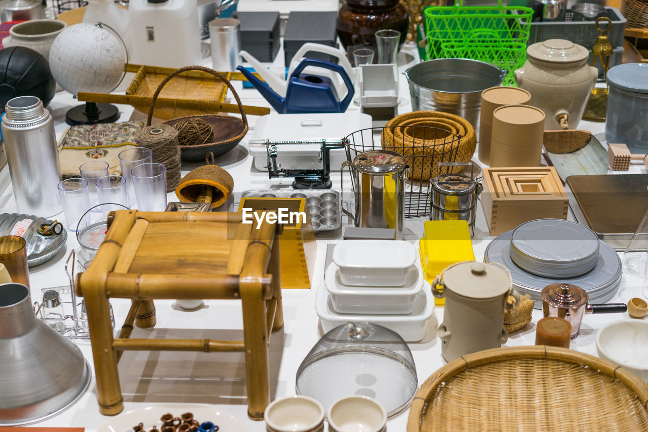 High Angle View Of Objects On Table