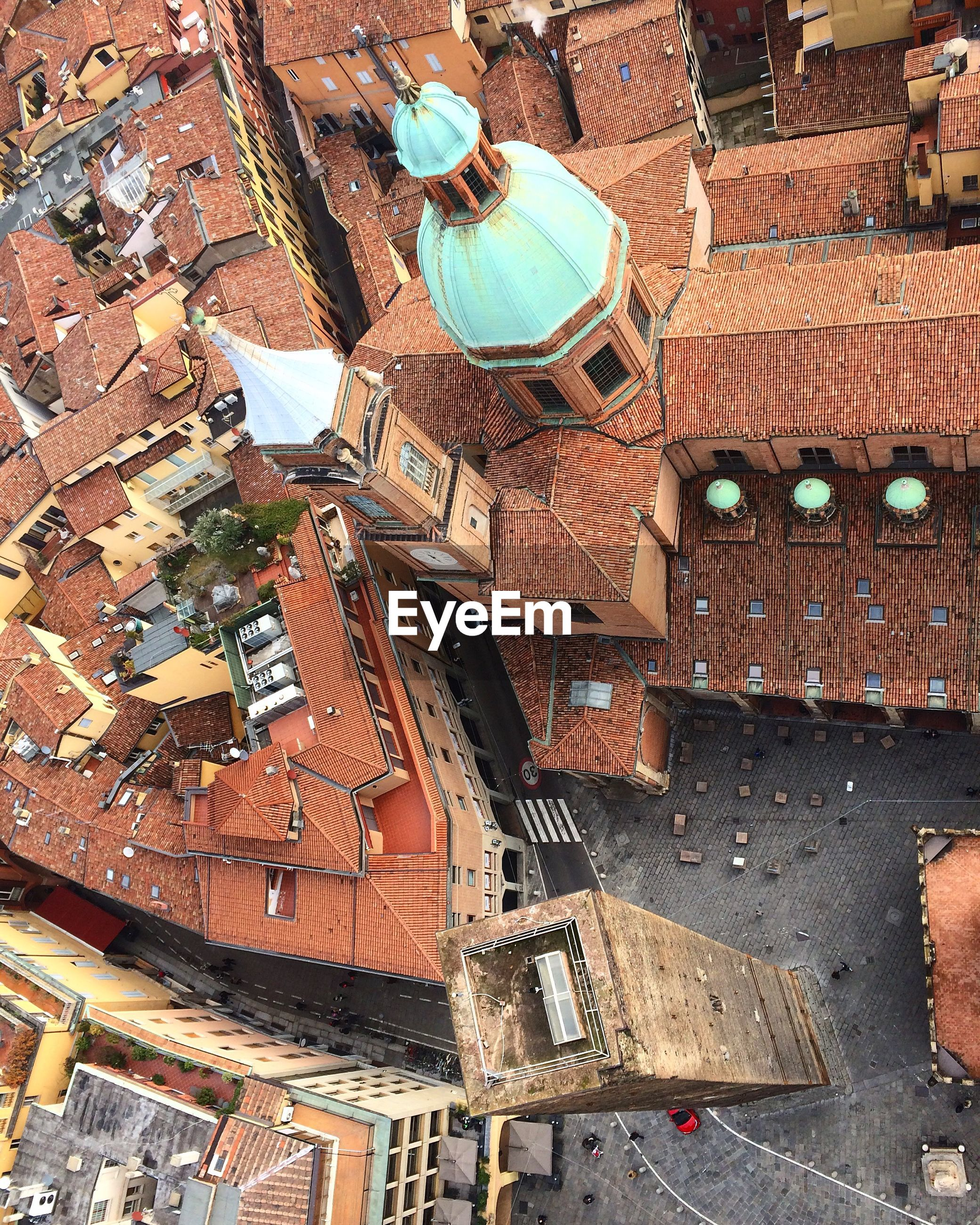 Aerial view of buildings in old town