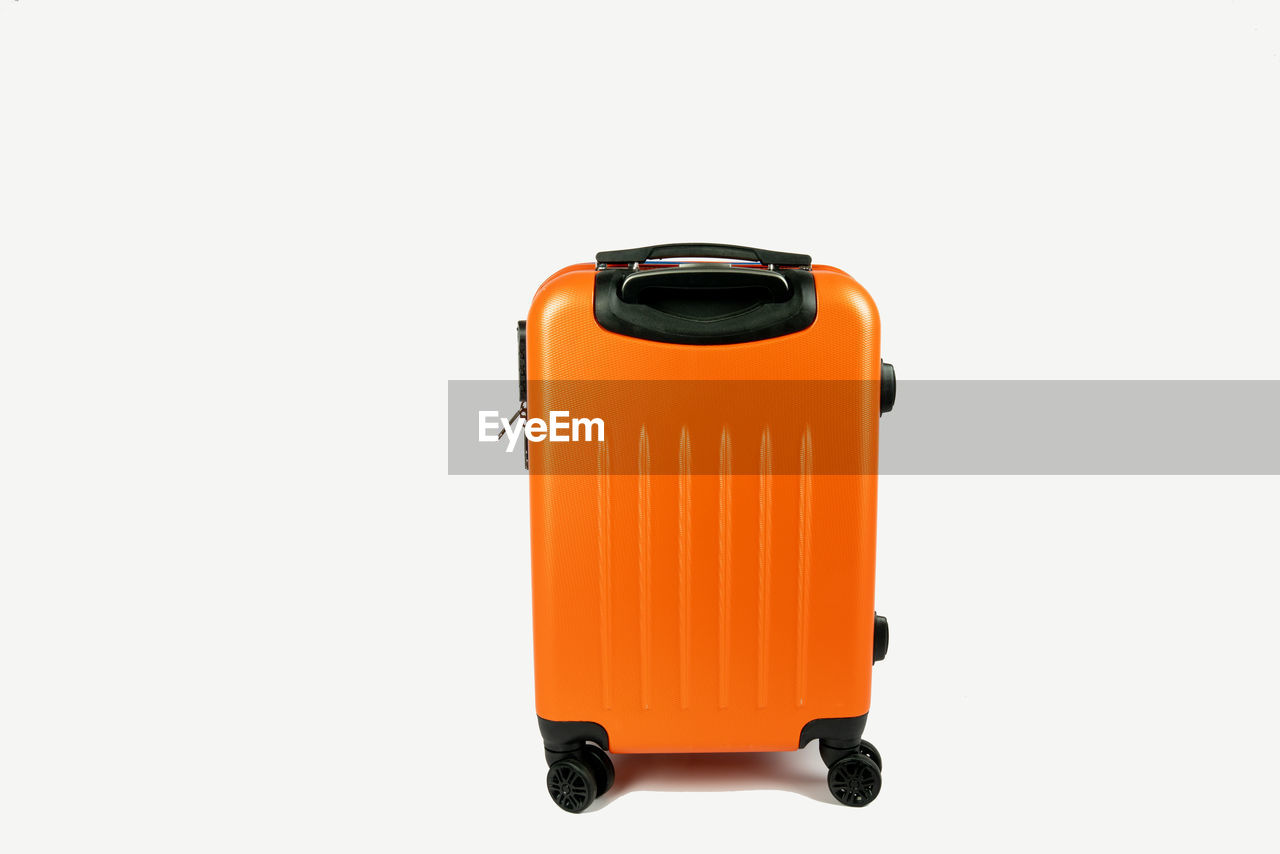 studio shot, white background, cut out, orange color, copy space, still life, indoors, single object, no people, close-up, equipment, protection, safety, technology, security, metal, container, rolled up, healthcare and medicine, electrical equipment