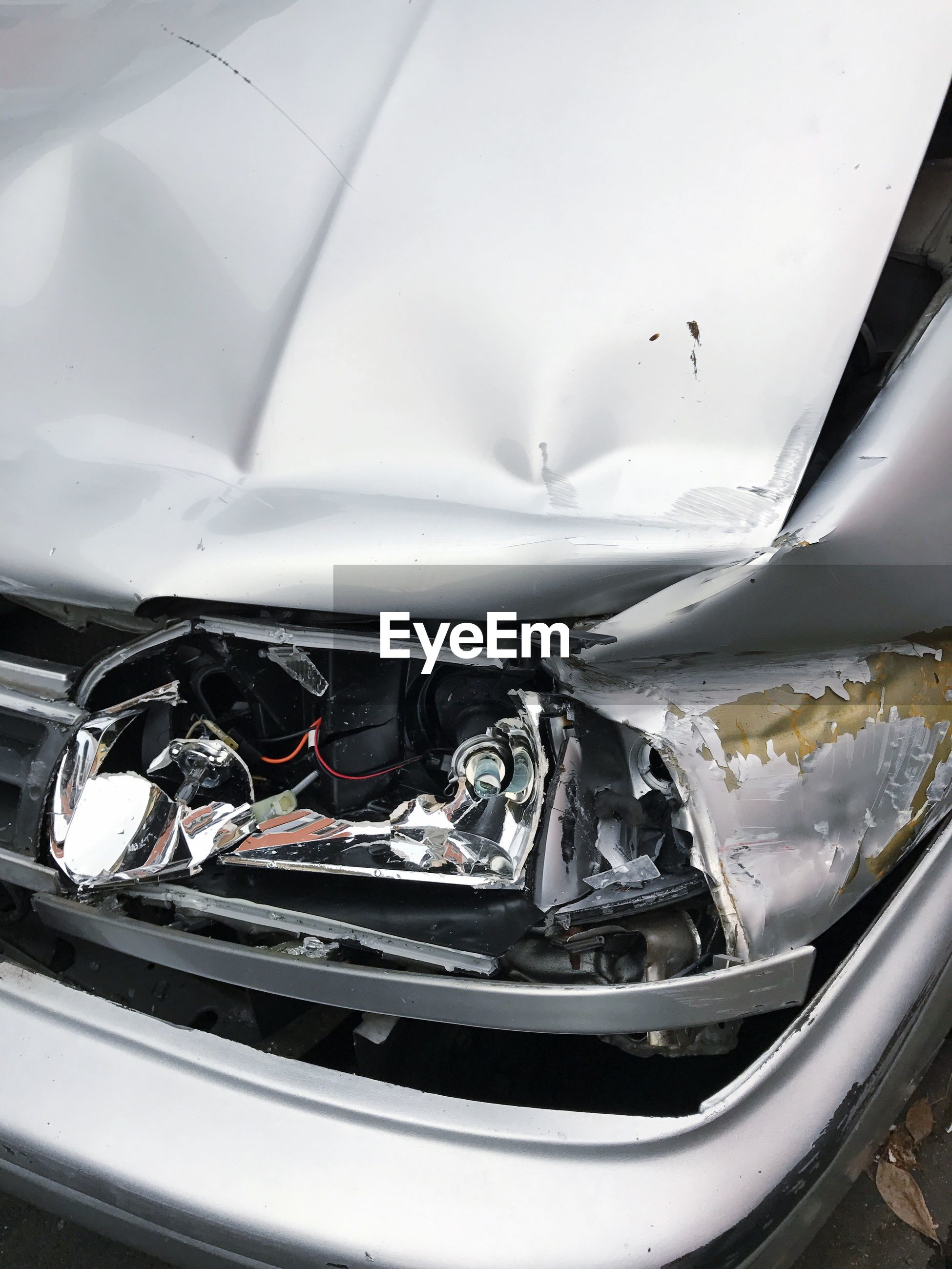 High angle view of damaged car