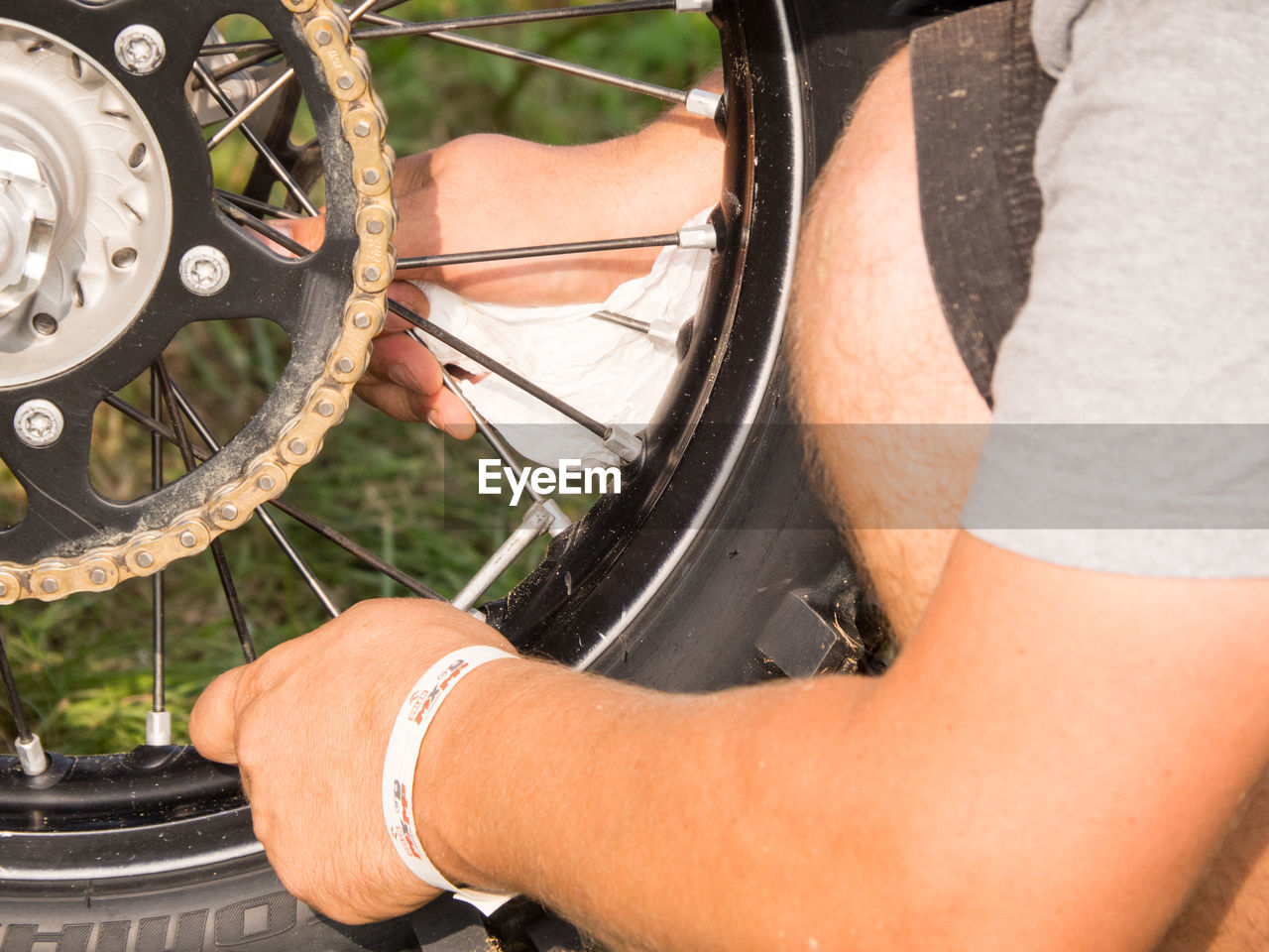 Close-Up Side View Of Bicycle Tire