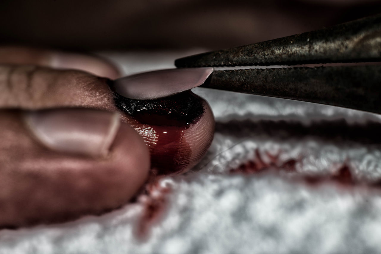 Close-up of person pulling nail by equipment at home