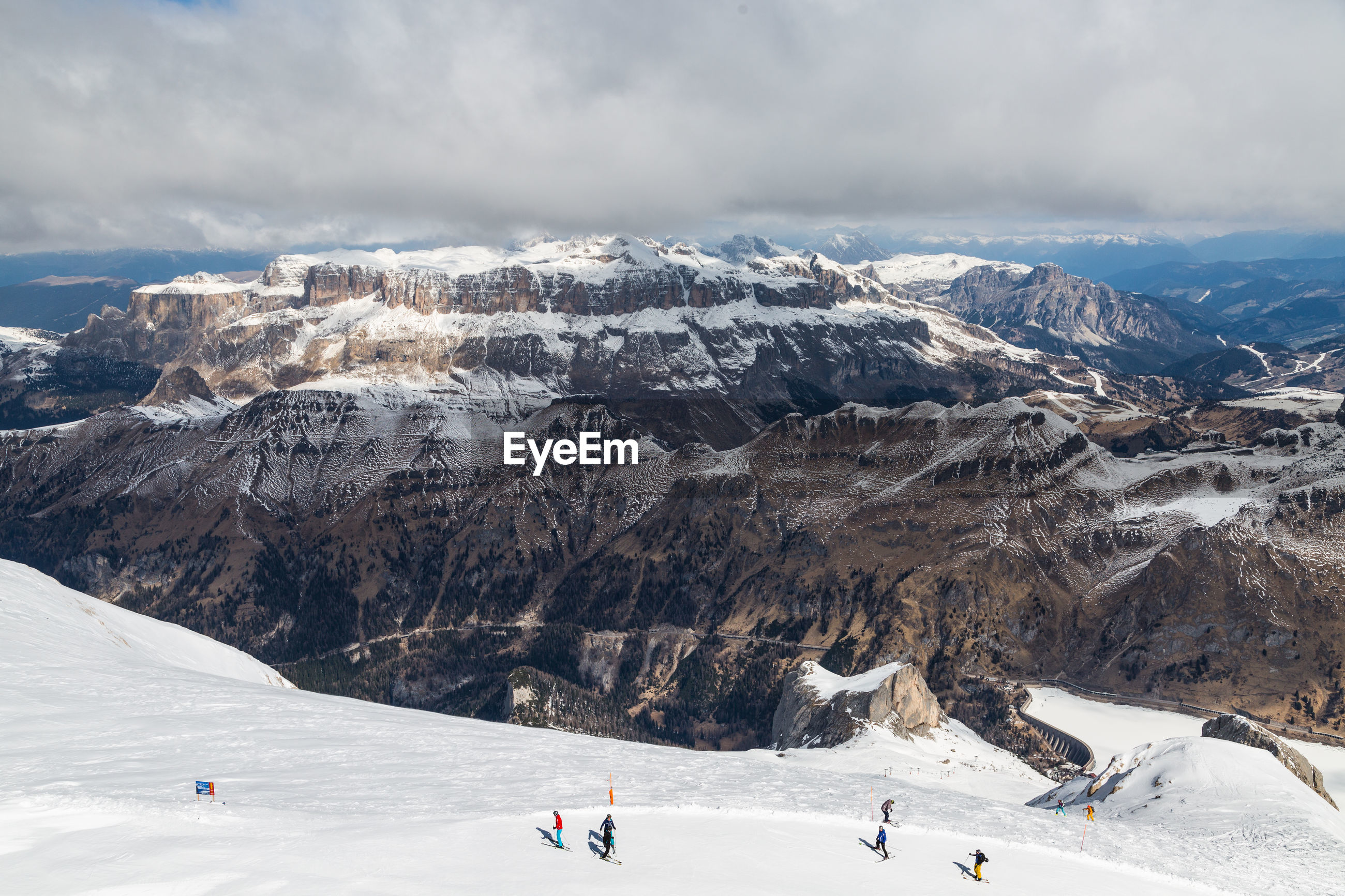 Scenic view of snowcapped mountains against sky. punta rocca. dolomites. italy