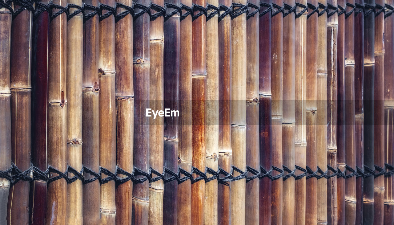 full frame, wood - material, metal, backgrounds, pattern, no people, safety, security, brown, protection, close-up, detail, fence, boundary, repetition, day, textured, barrier, side by side, outdoors, iron, silver colored