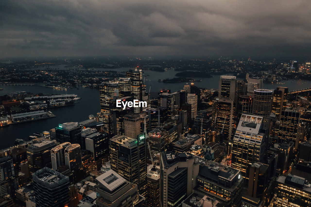High angle view on sydney city business district.