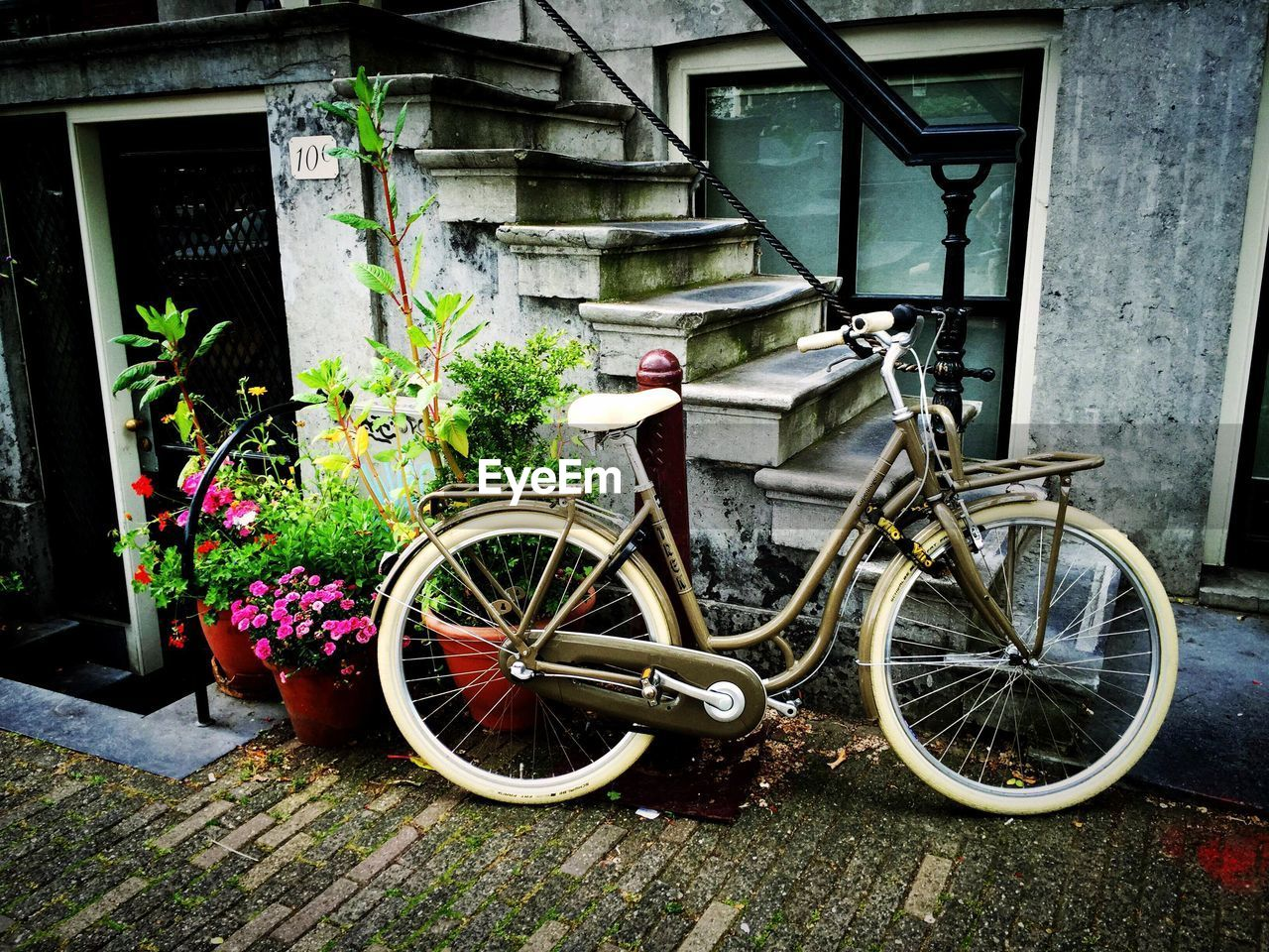 bicycle, day, outdoors, transportation, building exterior, architecture, built structure, no people, mode of transport, land vehicle, stationary, plant, growth, flower, nature