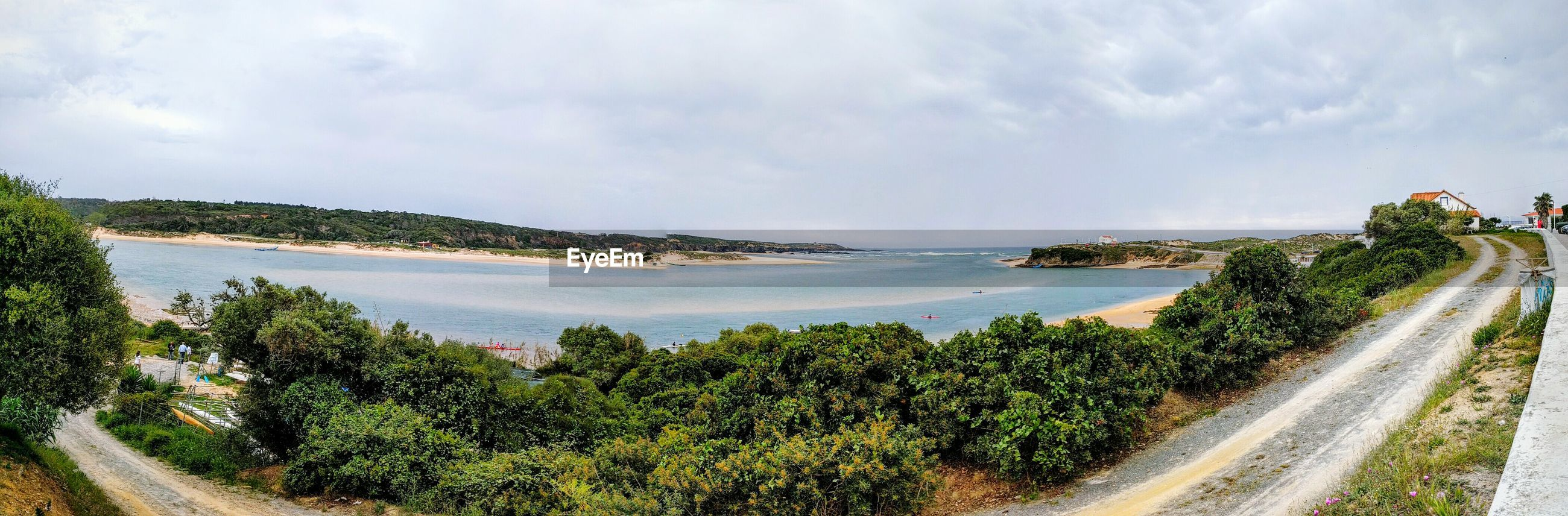 Panoramic shot of sea and trees against sky