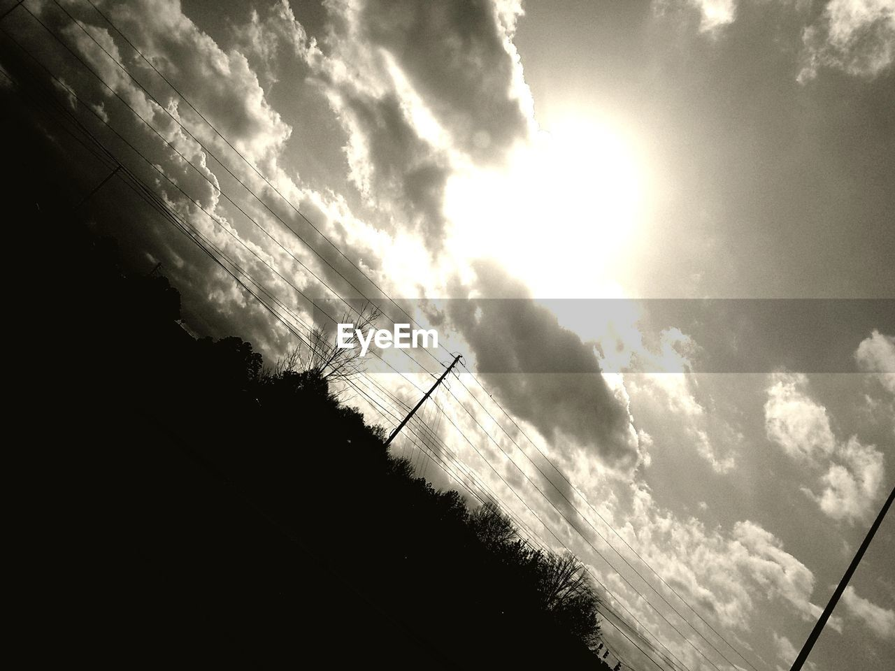 sky, cloud - sky, low angle view, silhouette, connection, cable, no people, nature, outdoors, day, beauty in nature, scenics, technology