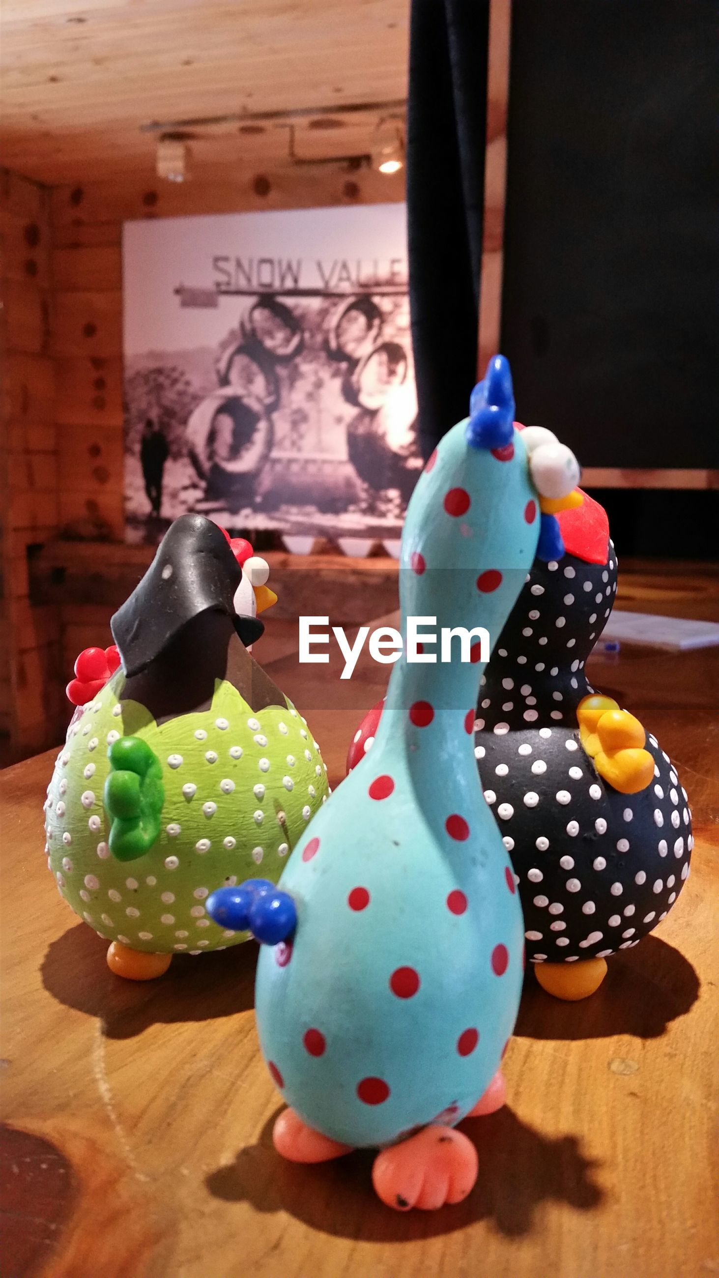 indoors, animal representation, multi colored, table, easter, spotted, no people, home interior, food, close-up, day, animal themes, mammal