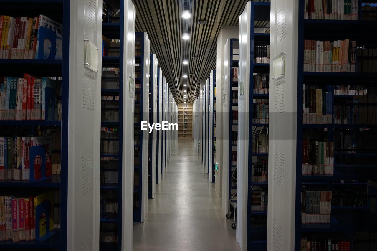 Empty corridor in library