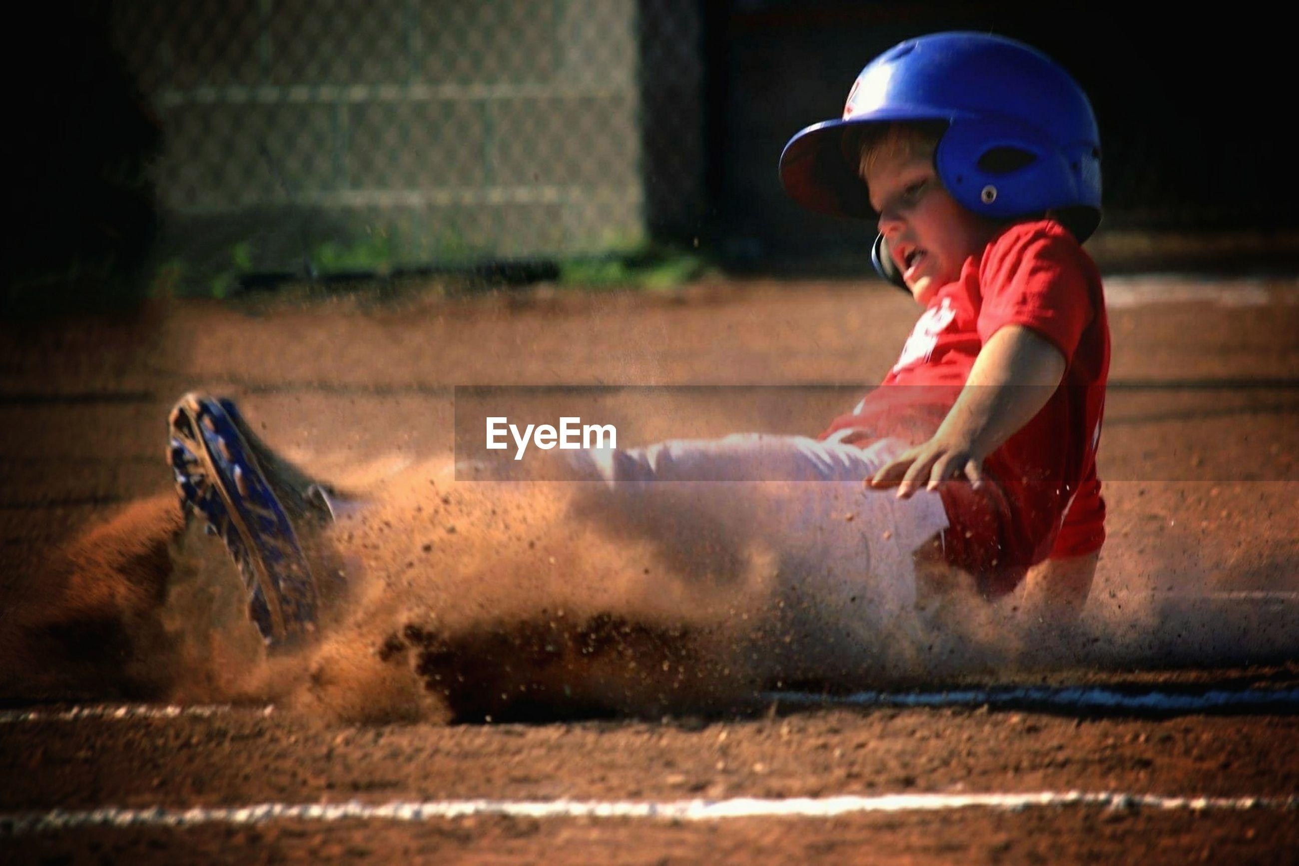 Boy on baseball field