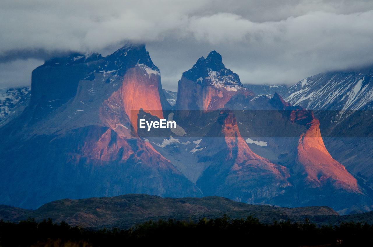 PANORAMIC VIEW OF VOLCANIC MOUNTAIN