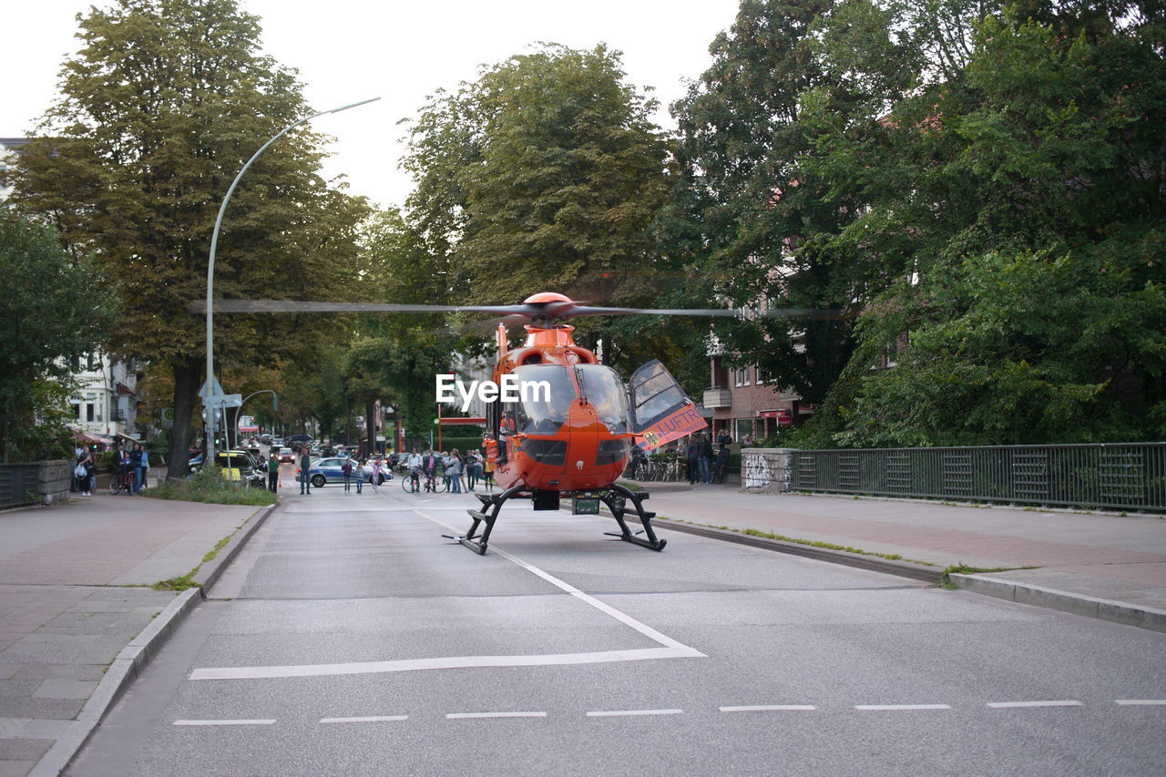 Helicopter on road