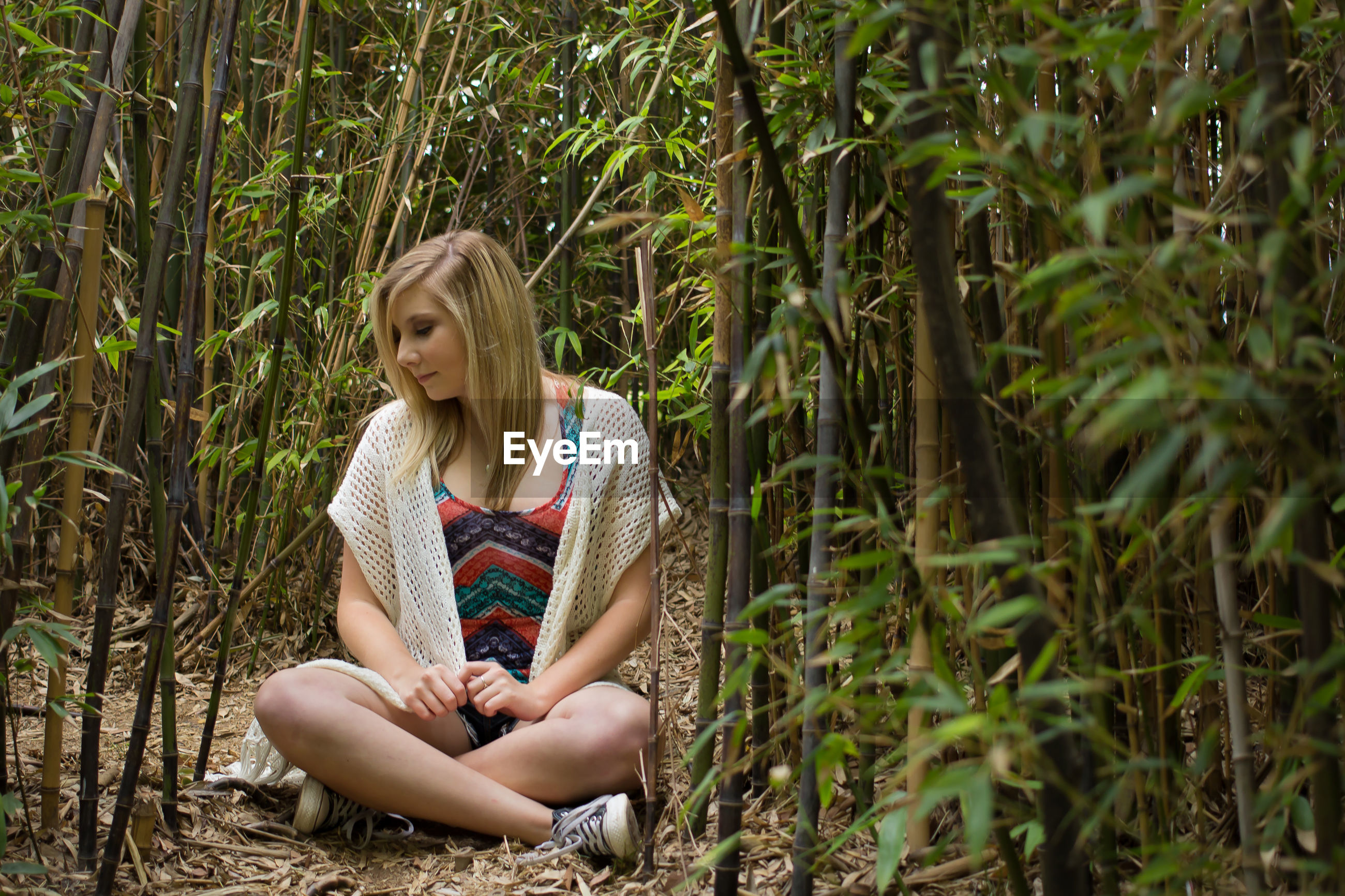 Young woman in bamboo forest