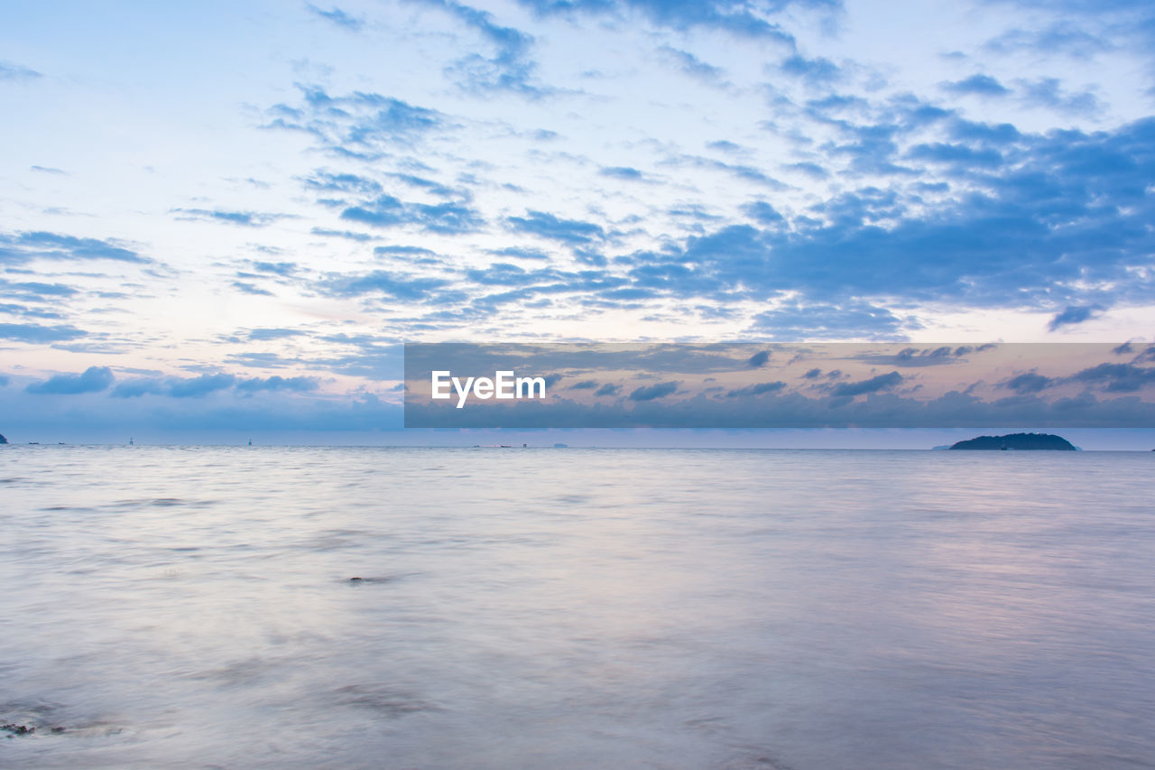 sky, cloud - sky, beauty in nature, scenics - nature, tranquil scene, tranquility, water, sea, waterfront, no people, idyllic, horizon over water, horizon, nature, sunset, non-urban scene, outdoors, day, blue