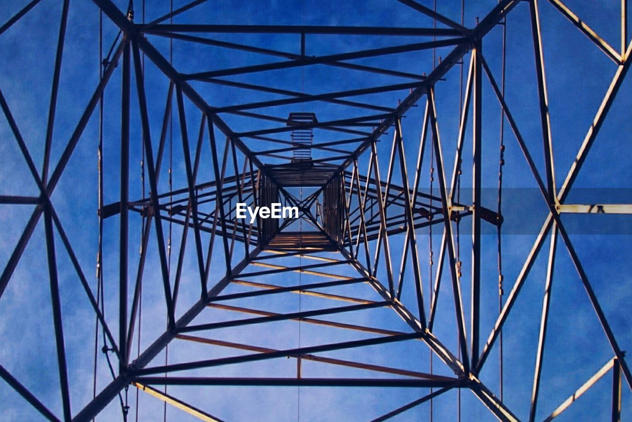 connection, blue, electricity pylon, electricity, cable, pattern, low angle view, no people, day, clear sky, sky, outdoors, architecture, girder