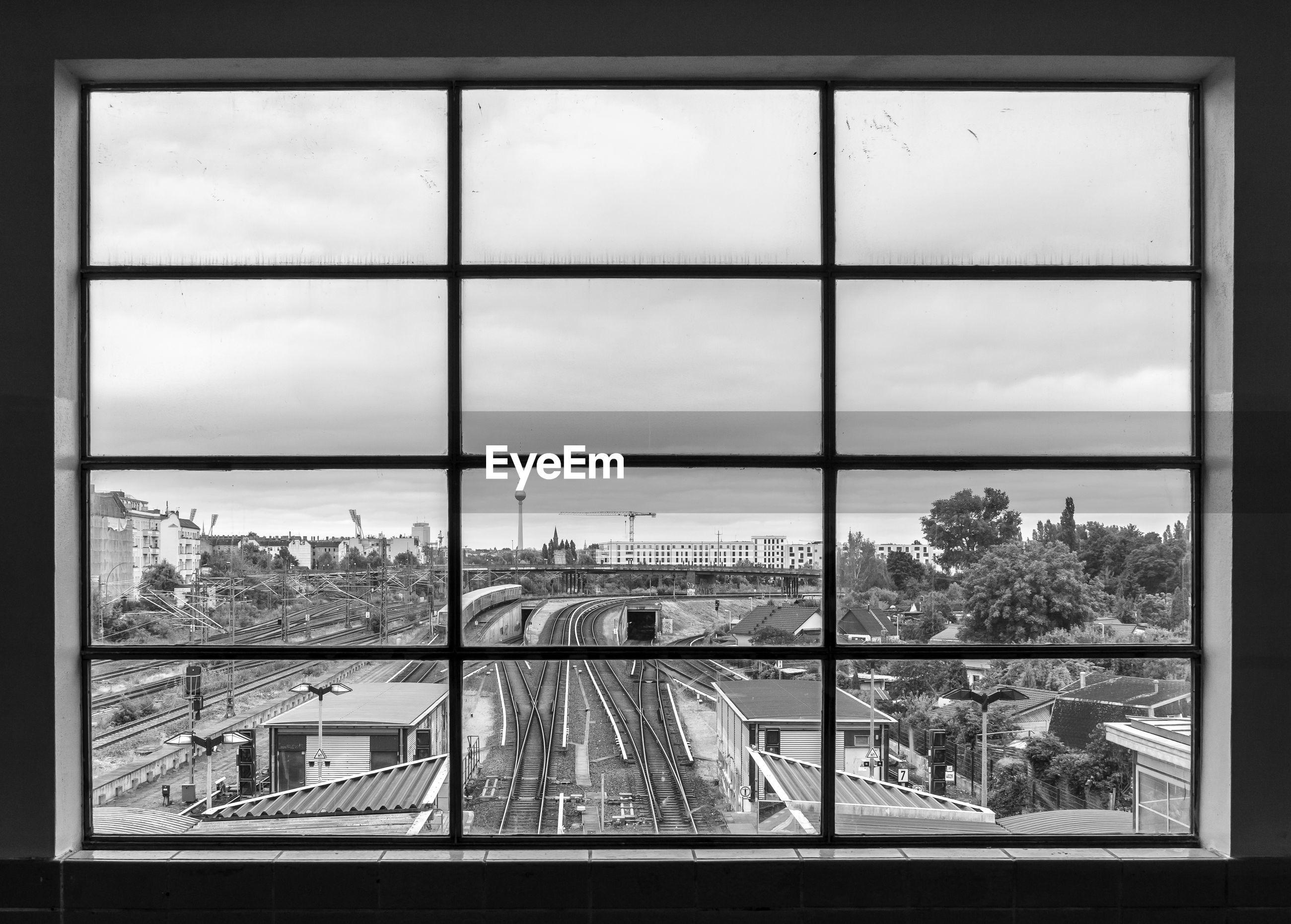 City seen through glass window