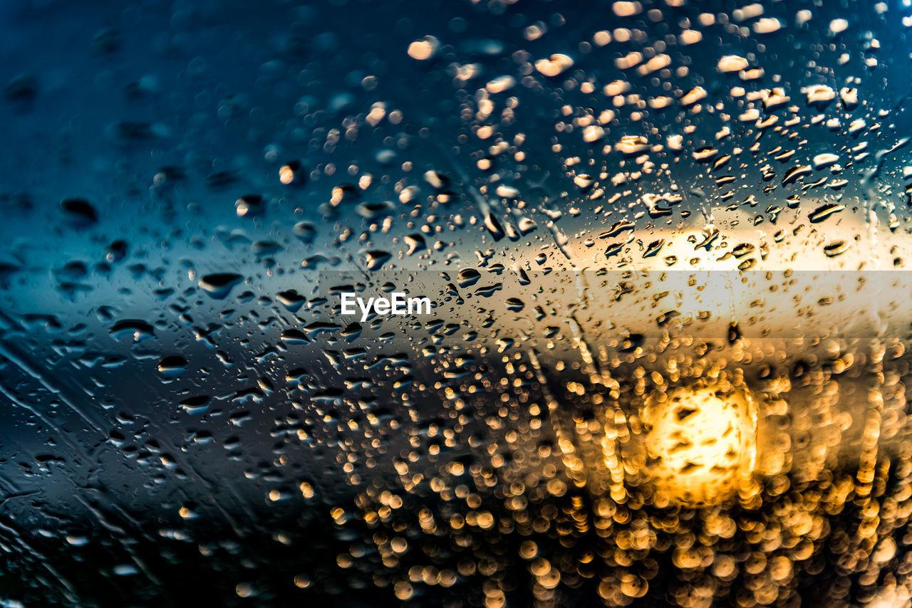 Full Frame Shot Of Wet Car Windshield