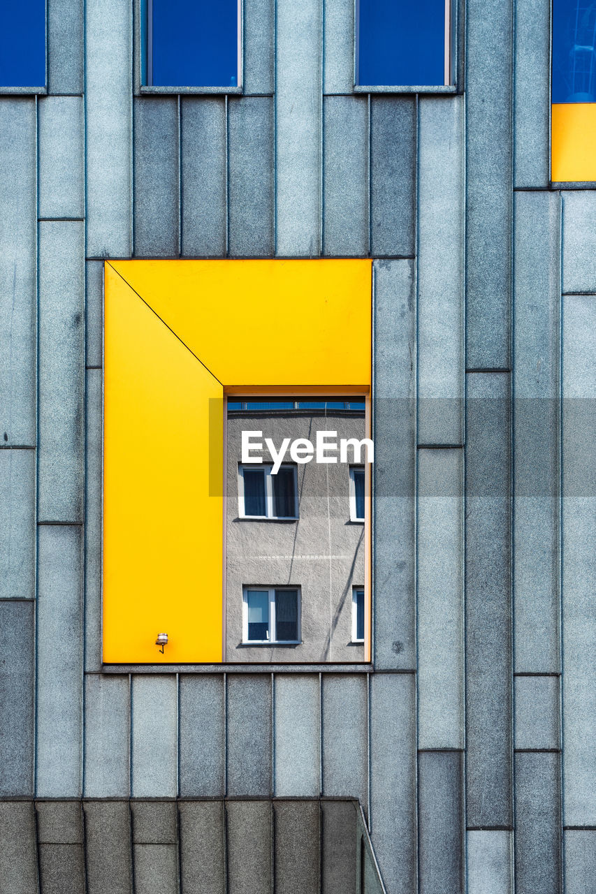 architecture, yellow, built structure, building exterior, building, window, no people, day, blue, wall - building feature, outdoors, shape, city, pattern, geometric shape, residential district, closed, design, staircase, full frame