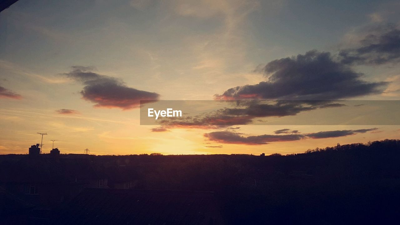 sunset, silhouette, sky, cloud - sky, no people, nature, architecture, beauty in nature, outdoors, built structure, building exterior, scenics, tree, city, day