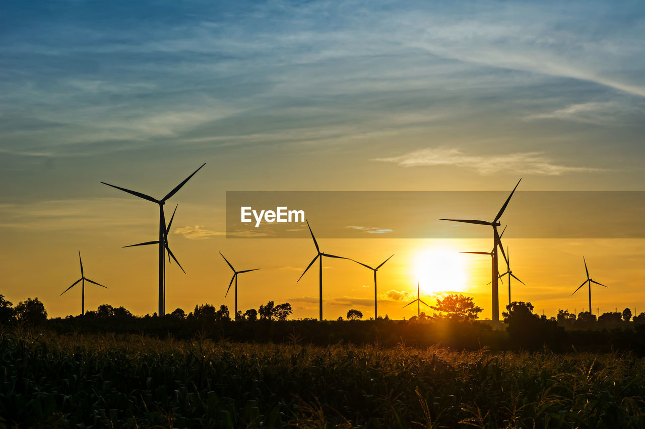 fuel and power generation, wind turbine, alternative energy, renewable energy, turbine, wind power, environmental conservation, sunset, sky, field, environment, nature, land, beauty in nature, landscape, orange color, scenics - nature, cloud - sky, silhouette, rural scene, no people, outdoors, sustainable resources, power supply