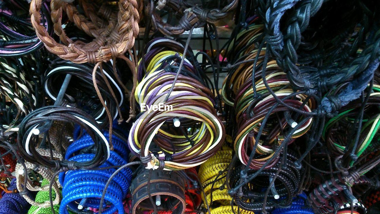 Full Frame Shot Of String Bracelets At Market Stall