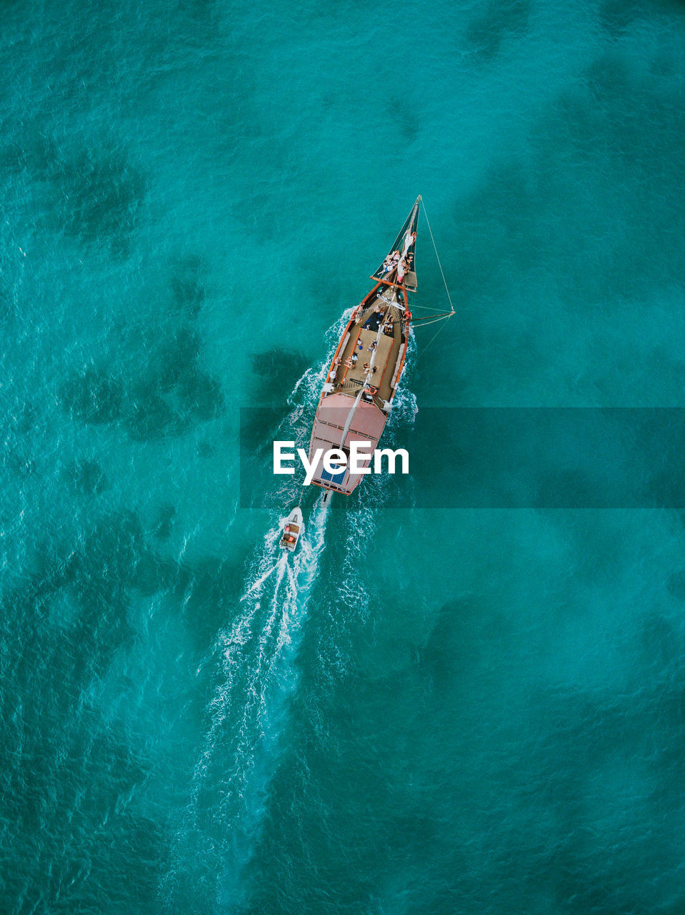 Aerial View Of Ship In Sea