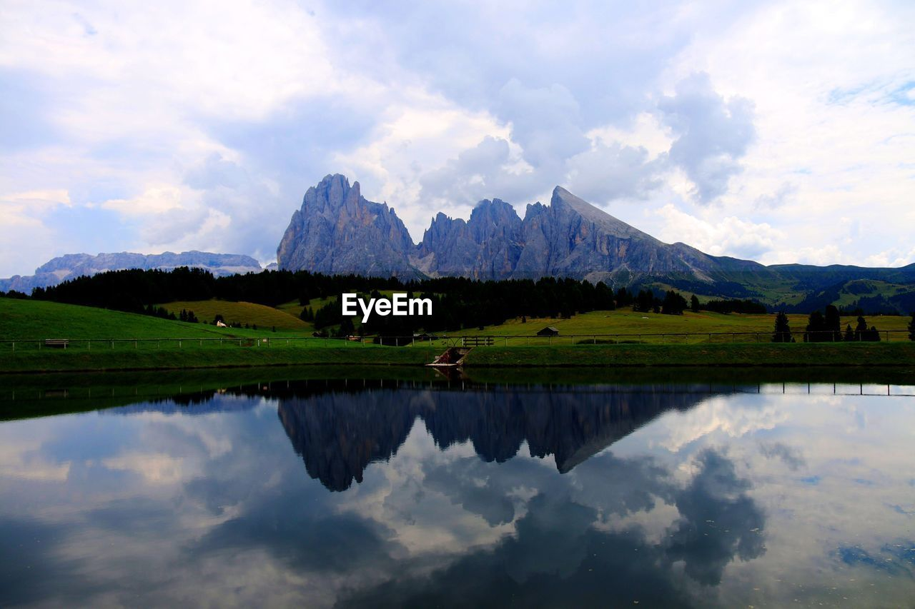 SCENIC VIEW OF LAKE AND MOUNTAINS