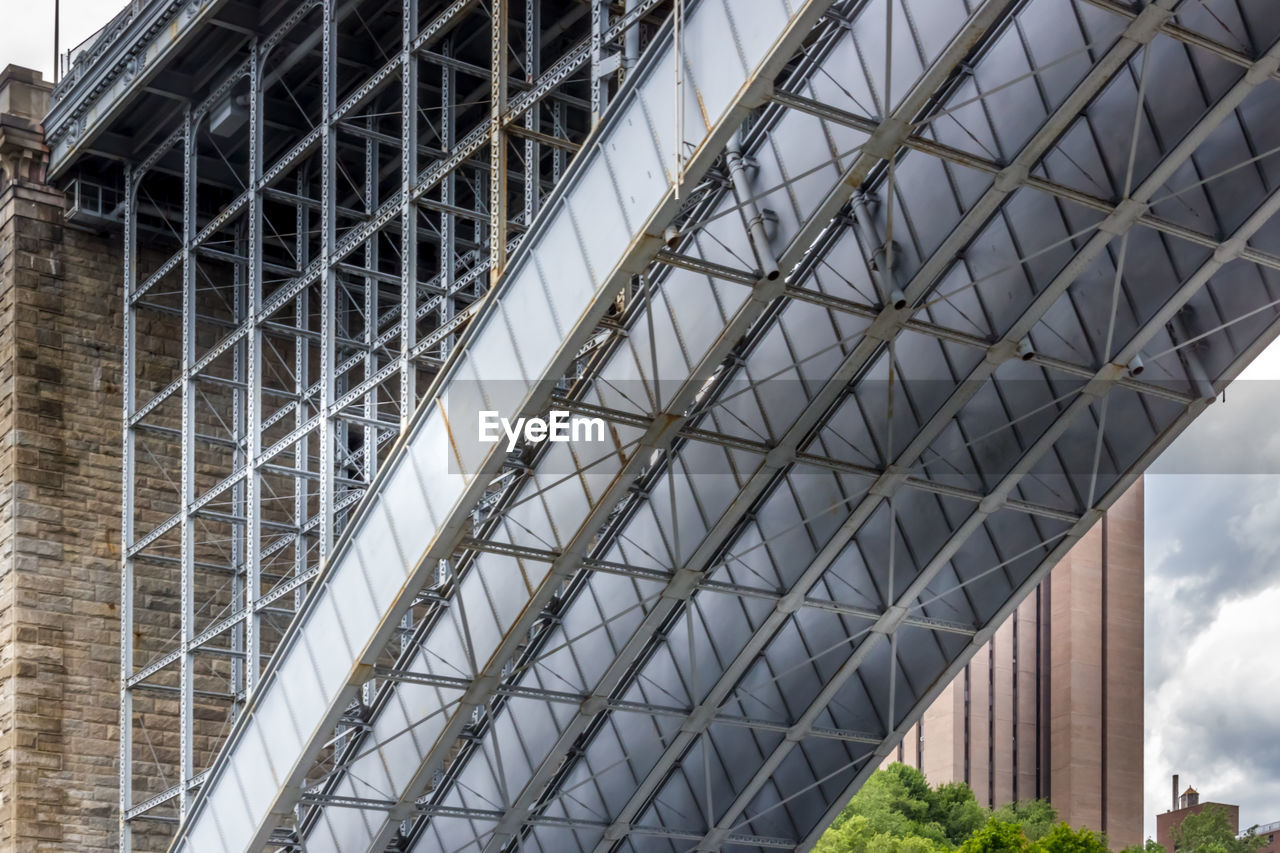 built structure, architecture, low angle view, day, no people, metal, building exterior, modern, outdoors, pattern, connection, sky, city, building, nature, bridge, cloud - sky, glass - material, ceiling