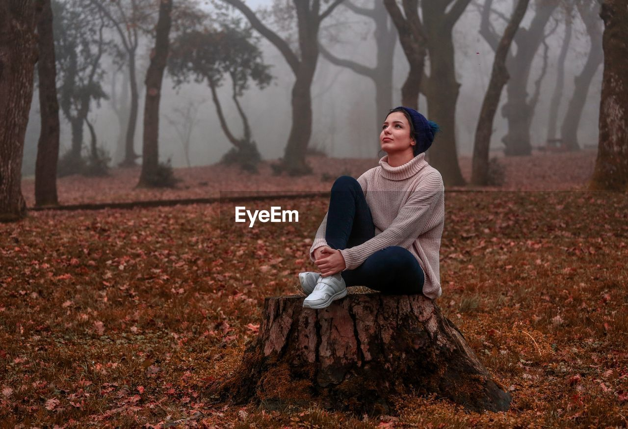Full Length Of Thoughtful Young Woman Sitting On Tree Stump In Forest During Autumn