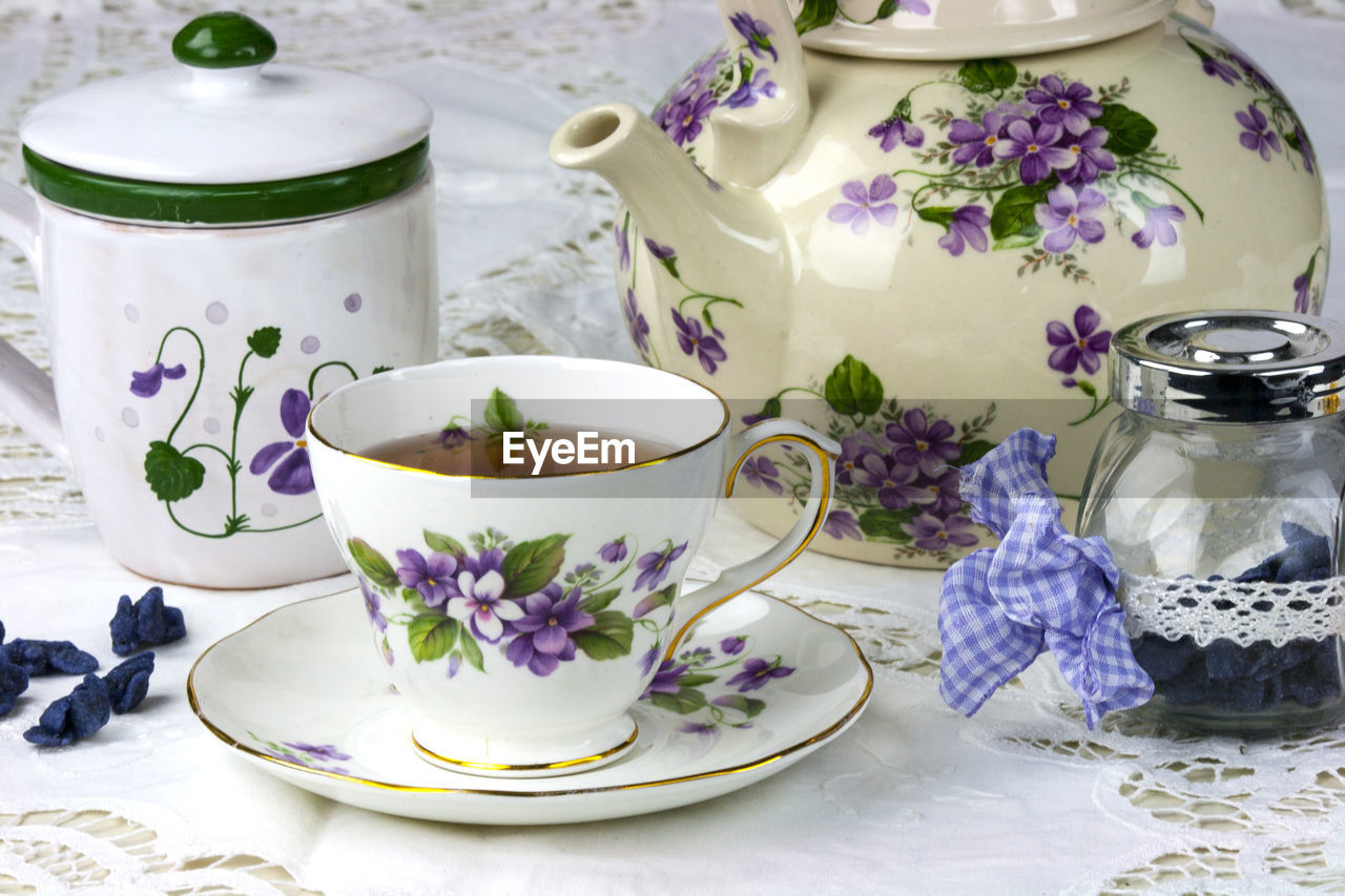 Elegant Retro Tea Cup On Table