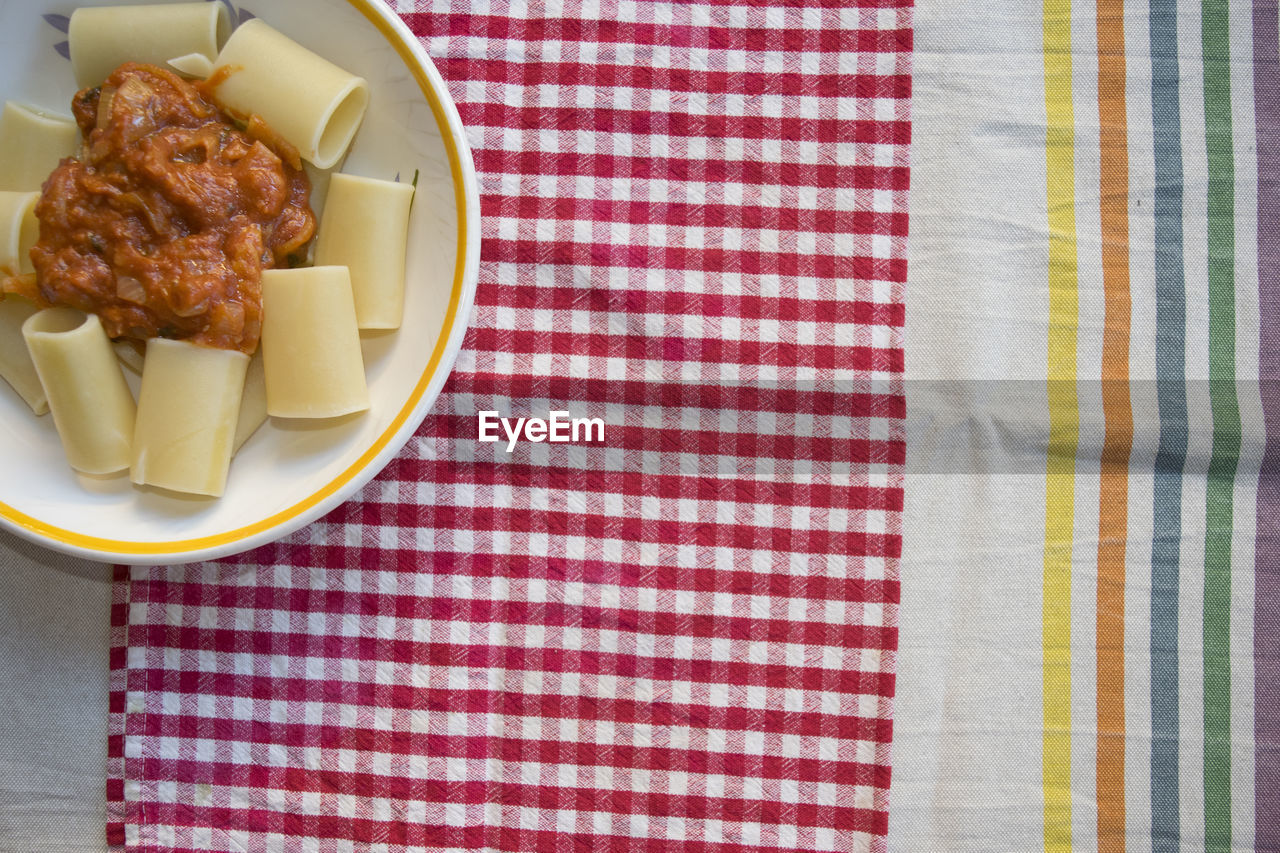food and drink, food, table, still life, indoors, tablecloth, freshness, plate, ready-to-eat, serving size, high angle view, bowl, directly above, no people, wellbeing, close-up, meat, napkin, checked pattern, healthy eating, snack, temptation