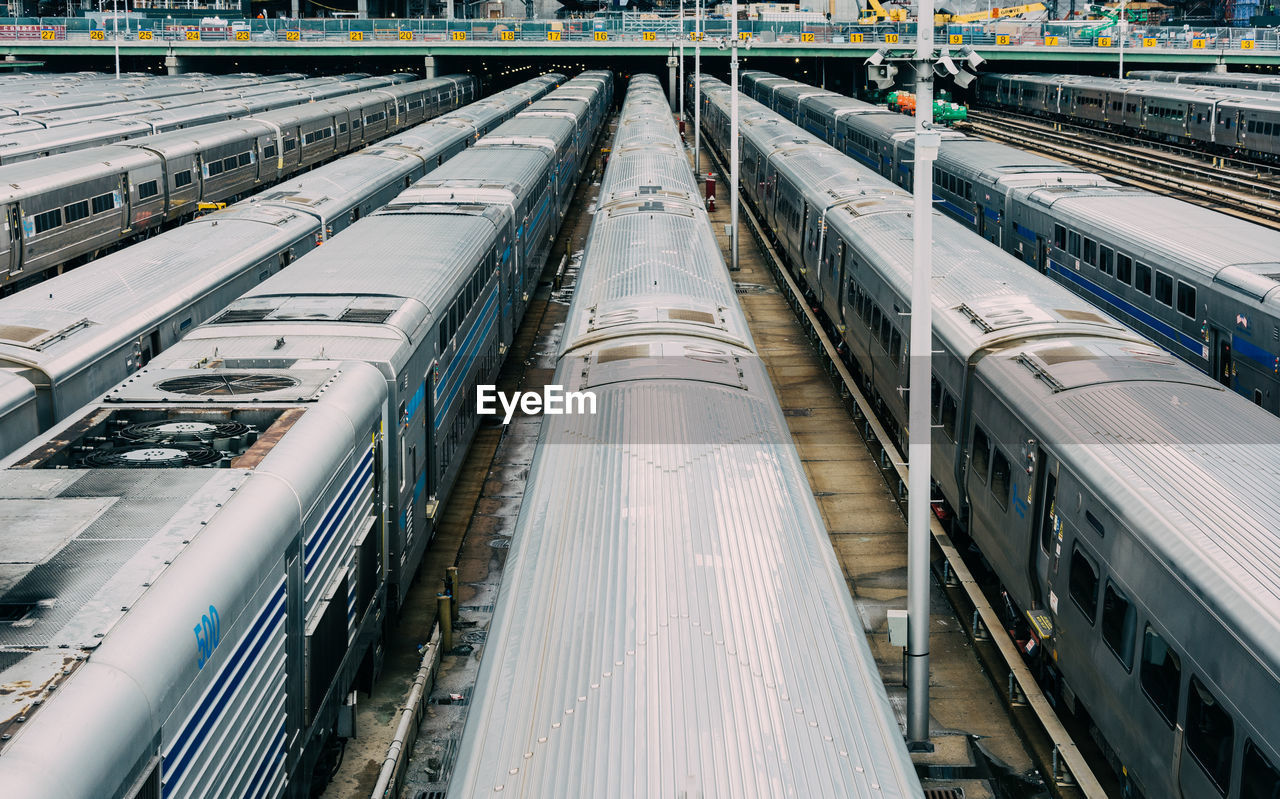 High angle view of trains at railroad station
