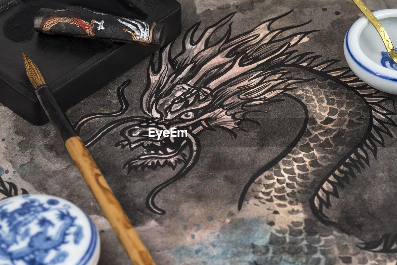 High Angle View Of Dragon Painting