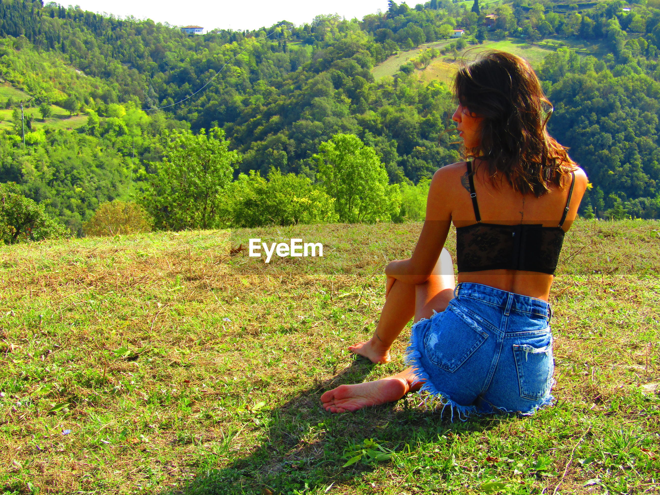 Rear view of young woman sitting on mountain
