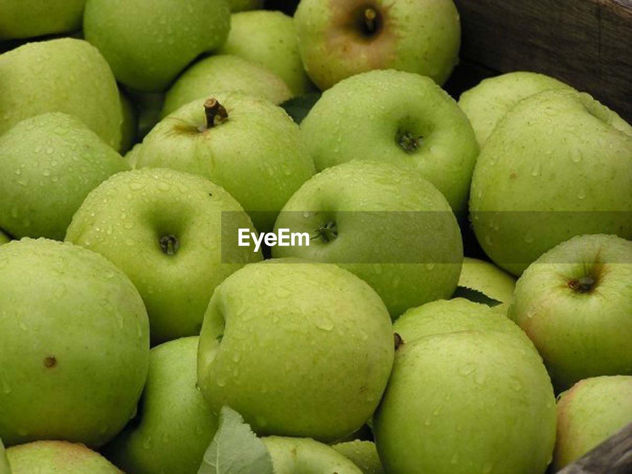 Wet Granny Smith Apples In Wicker Basket