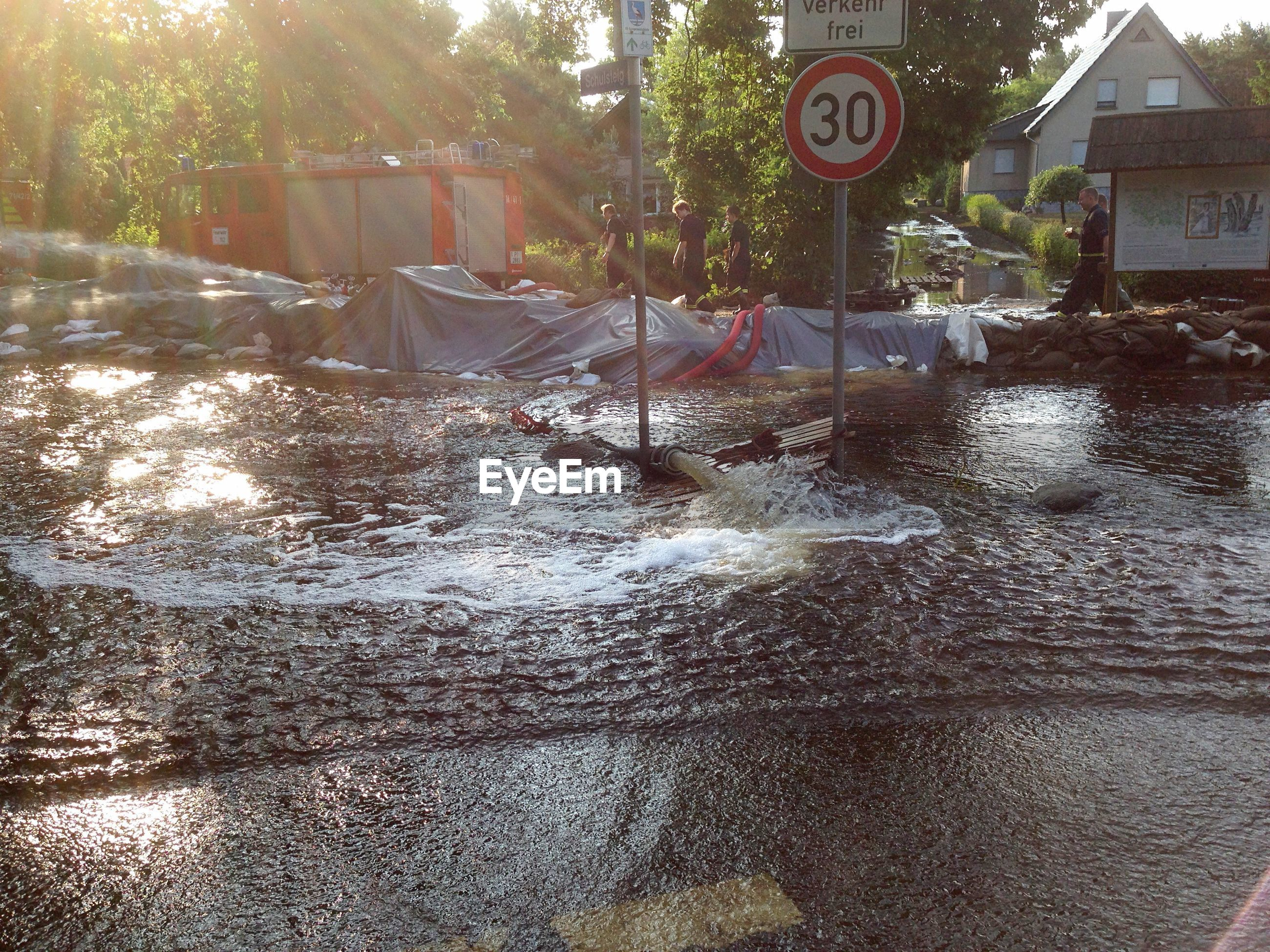 Flooded street amidst trees