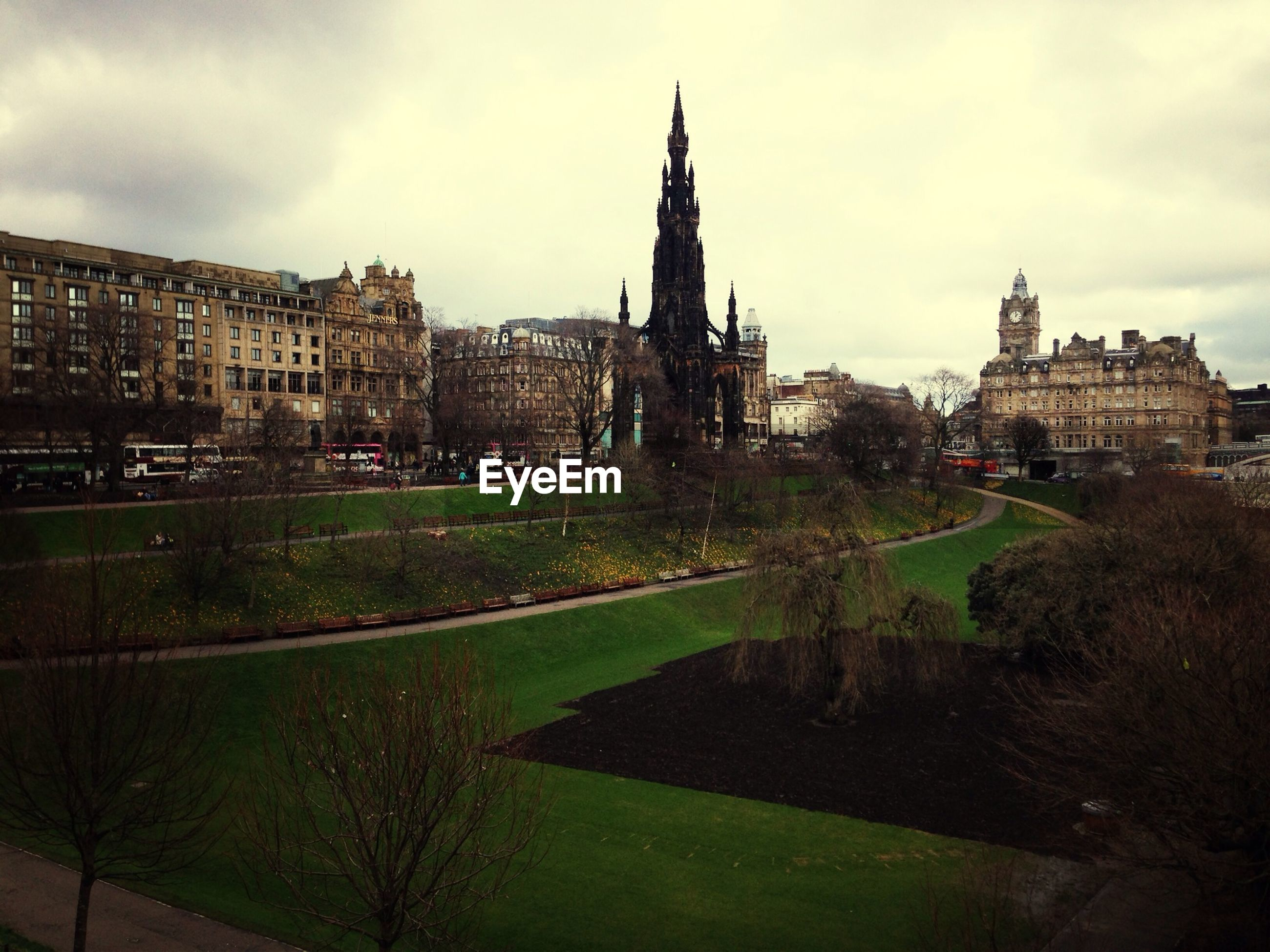 View of scott monument in city against sky