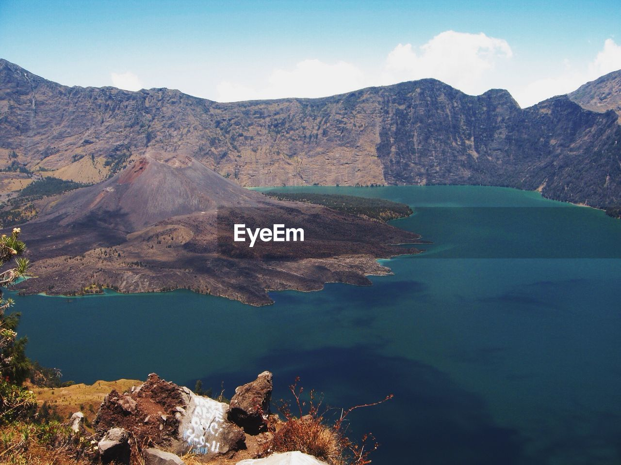 Volcanic Crater In Lake