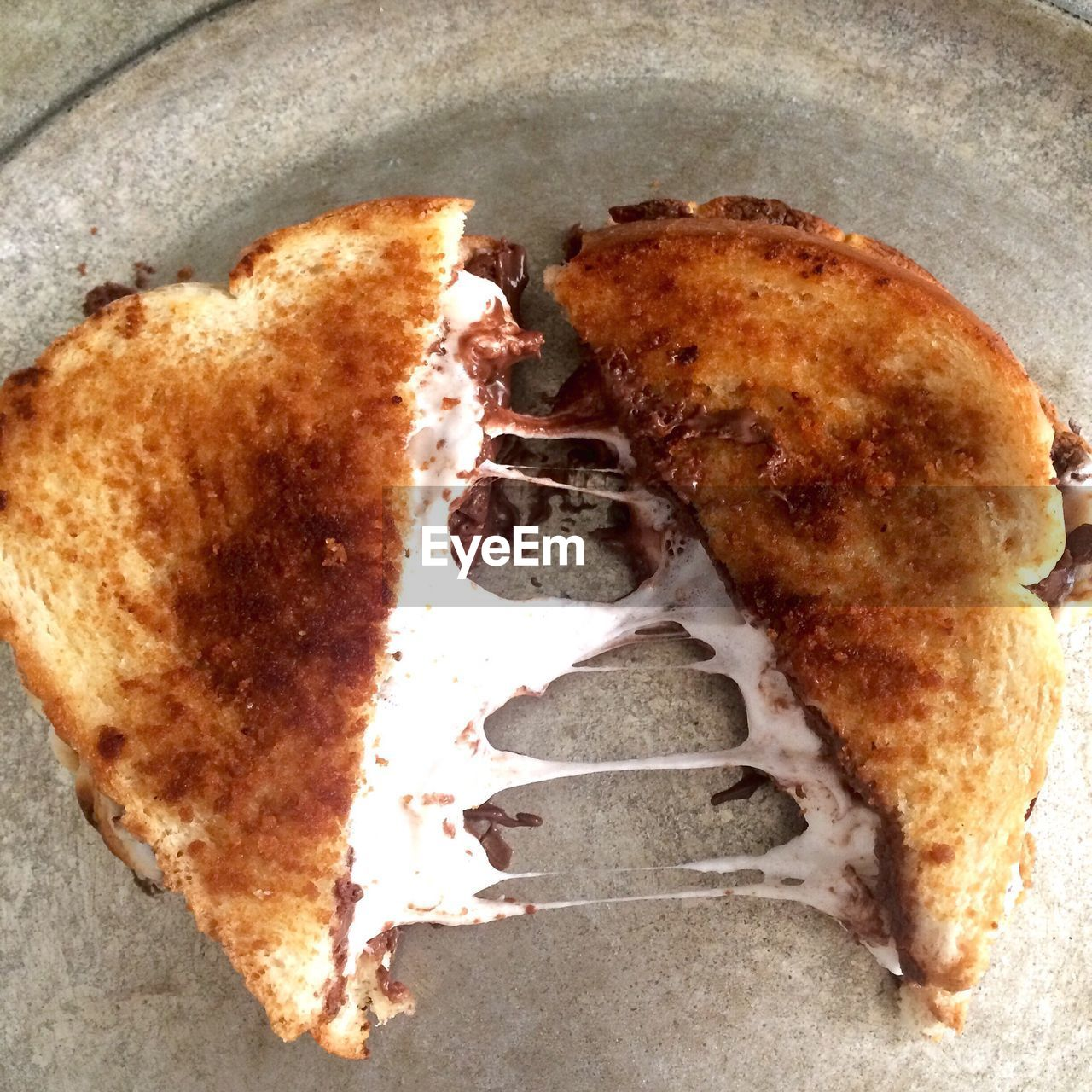 High Angle View Of Sandwich In Plate