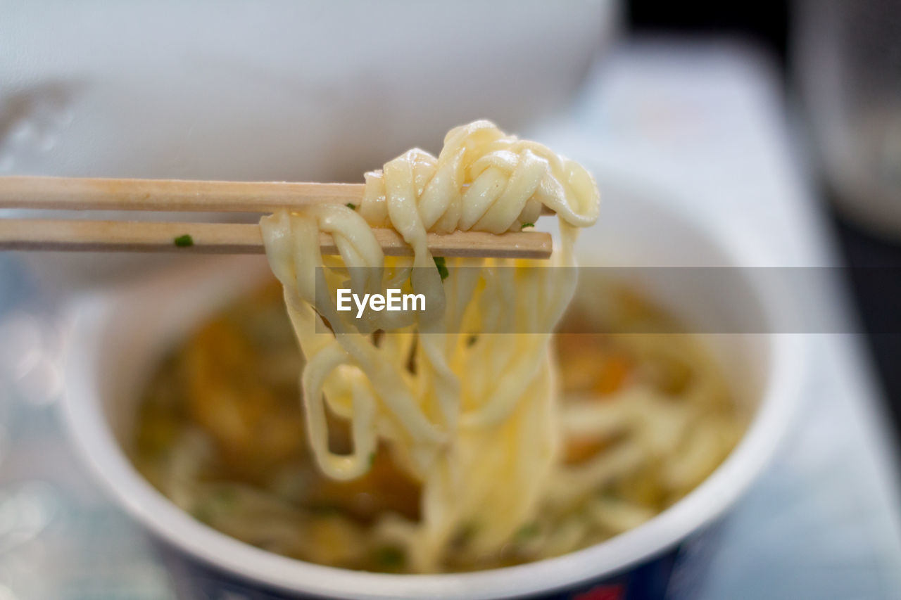 Close-up of instant udon noodles in bowl