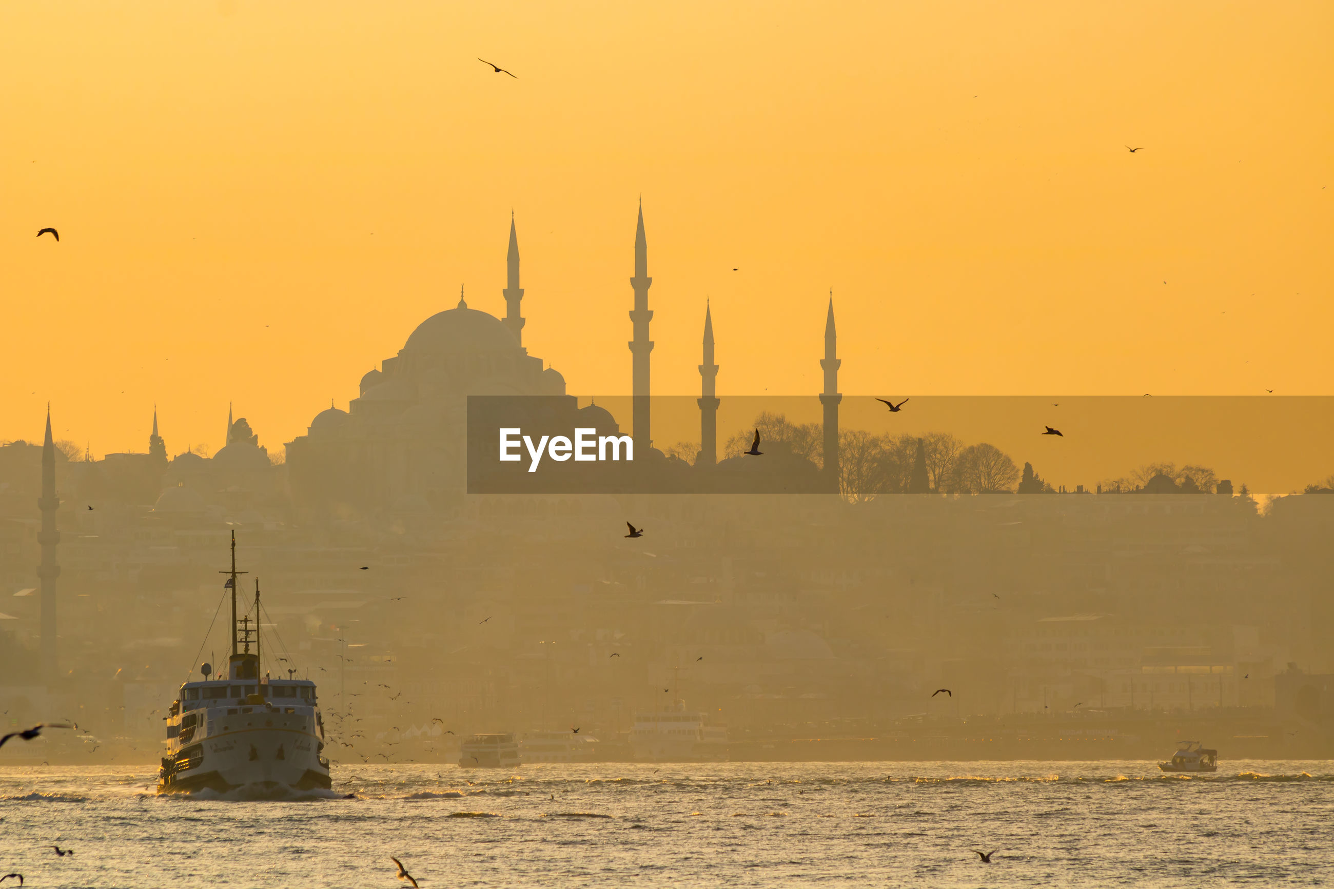 Suleymaniye mosque and ferry in istanbul