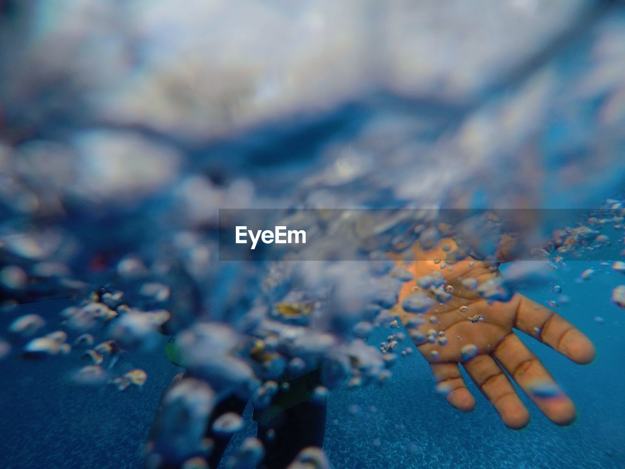 Close-up of hand undersea