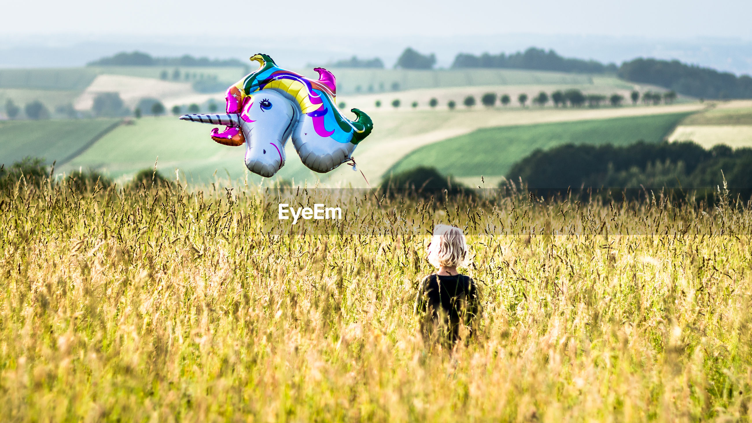 Rear view of girl holding unicorn balloon standing on field