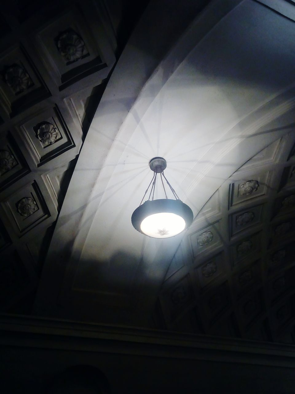 ceiling, low angle view, indoors, illuminated, no people, hanging, built structure, architecture, electricity, day, close-up