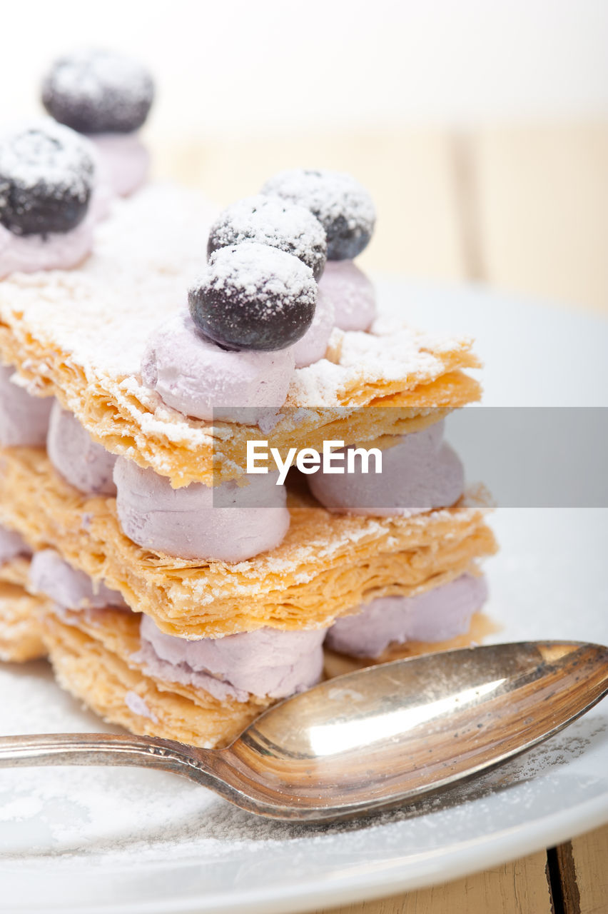 Mille Feuille With Blueberries And Cream