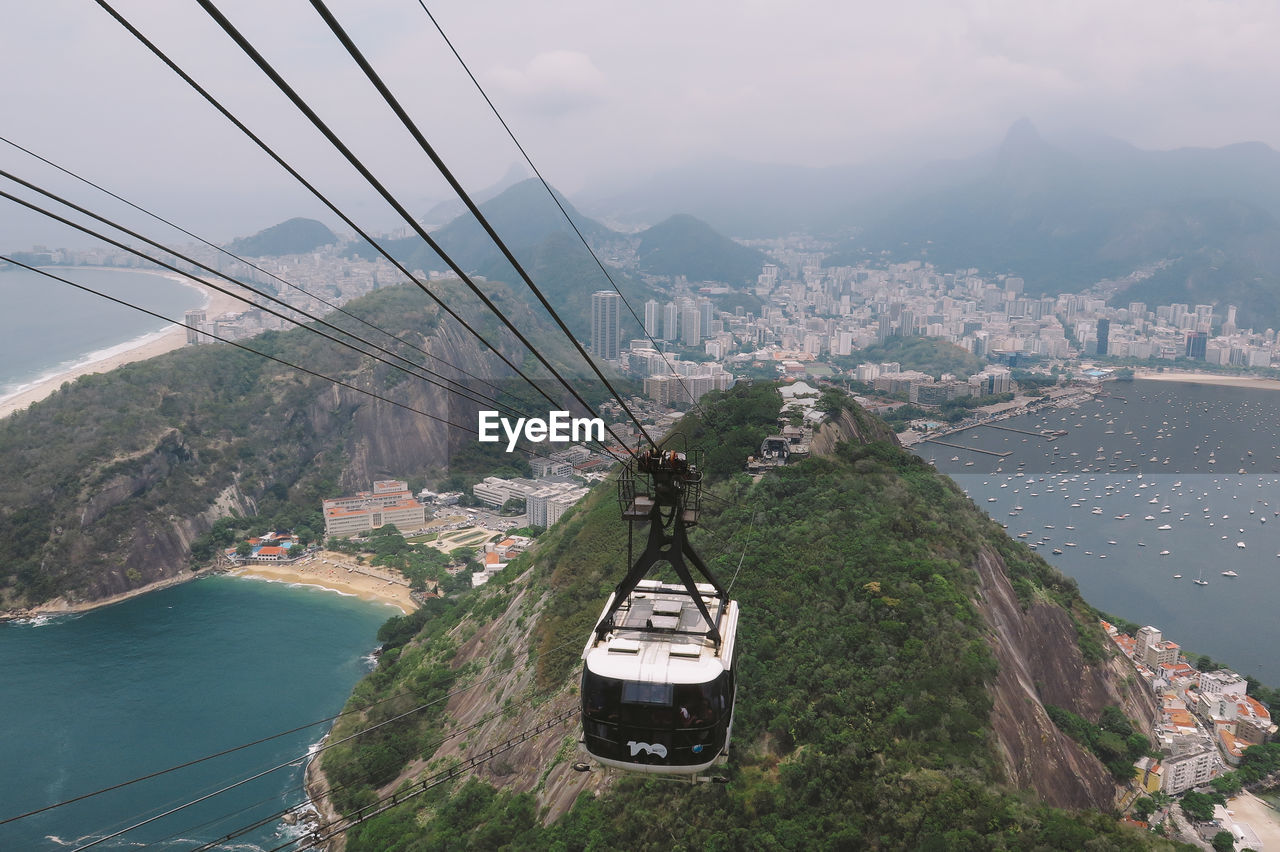 Overhead Cable Car Over Mountain And City