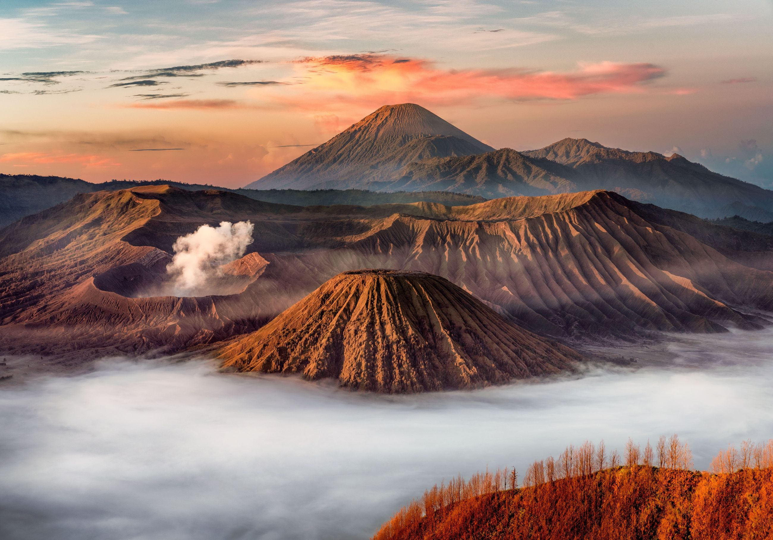Panoramic view of volcanic crater